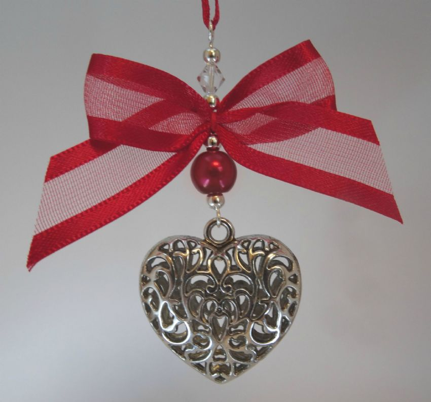 Silver Tone Tibetan Heart,  Red Pearl Bead, Bow & Bead - Xmas Tree Decoration